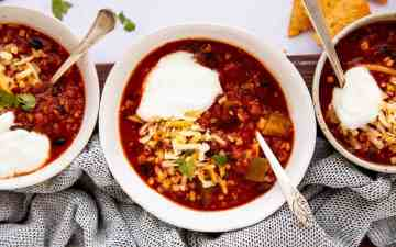 three bowls of turkey chili from the top down