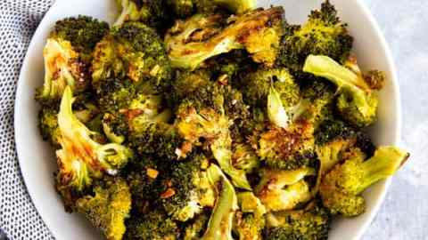 top down view on plate with broccoli side dish
