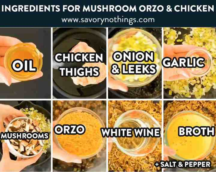 ingredients fro chicken and mushroom orzo with text labels