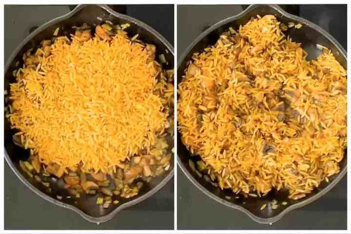 photo collage to show how to stir orzo into vegetables in skillet