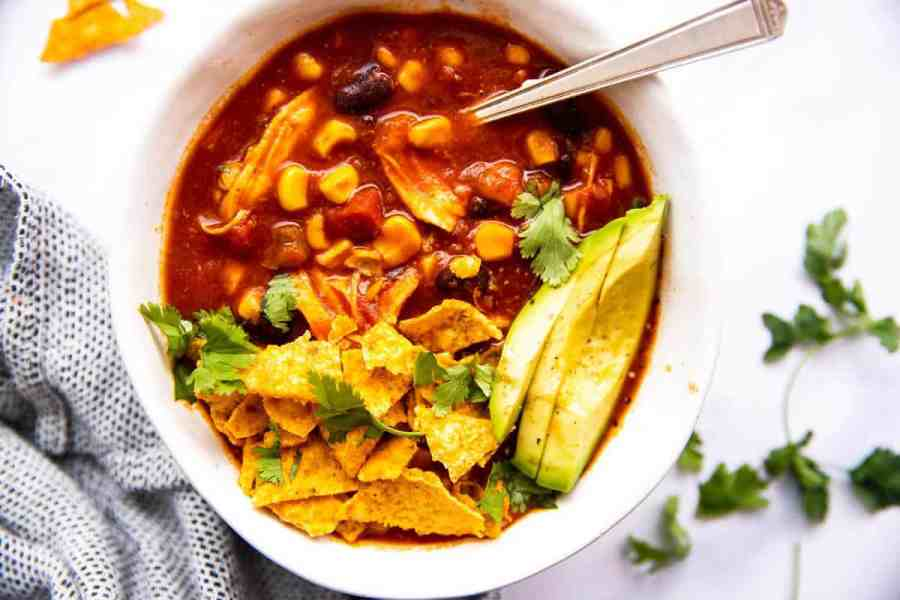 top down view on bowl with chicken taco soup