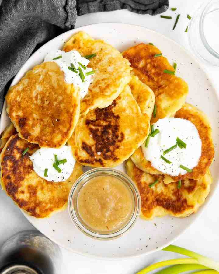 top down view on a plate filled with boxty potato pancakes