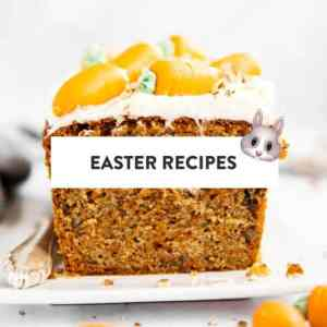 "picture of carrot cake with text overlay saying ""easter recipes"" and emoji rabbit"