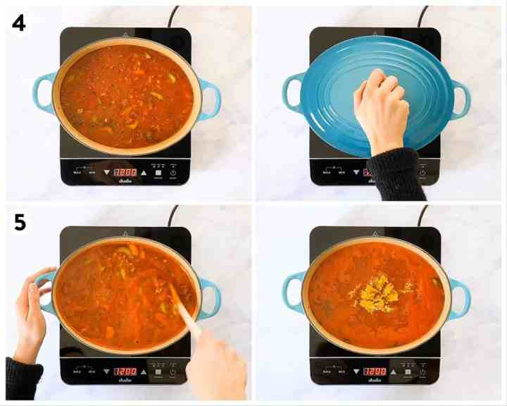photo collage to show how to cook lasagna soup