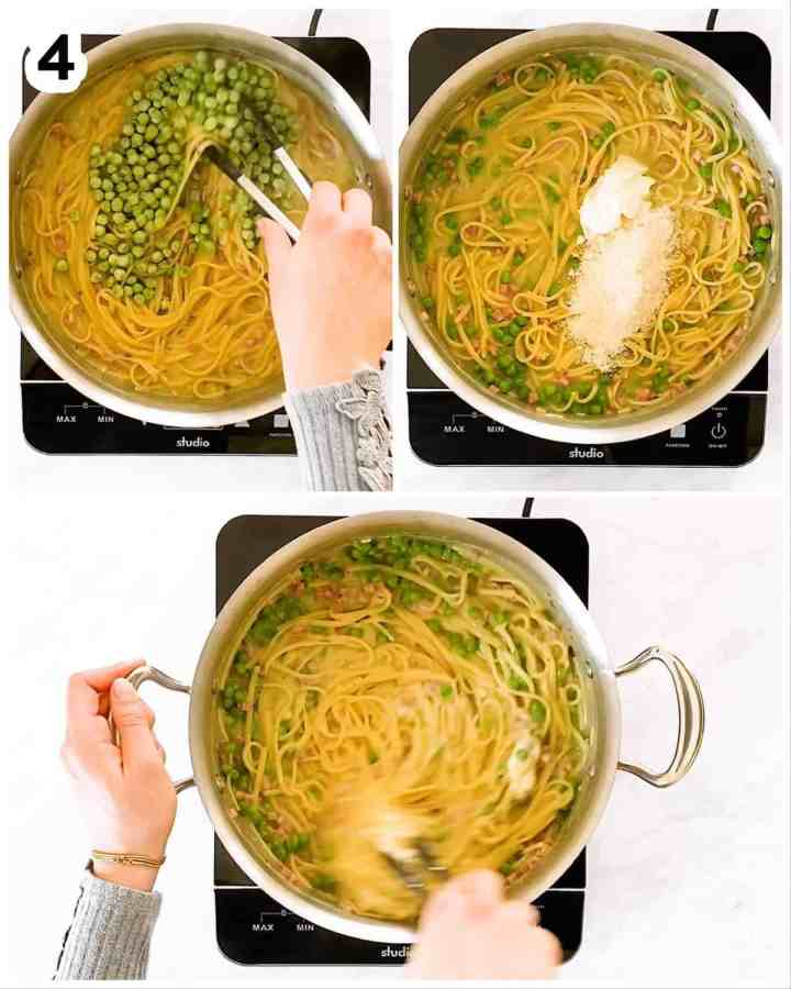 photo collage to show how to finish ham and pea pasta with cheese