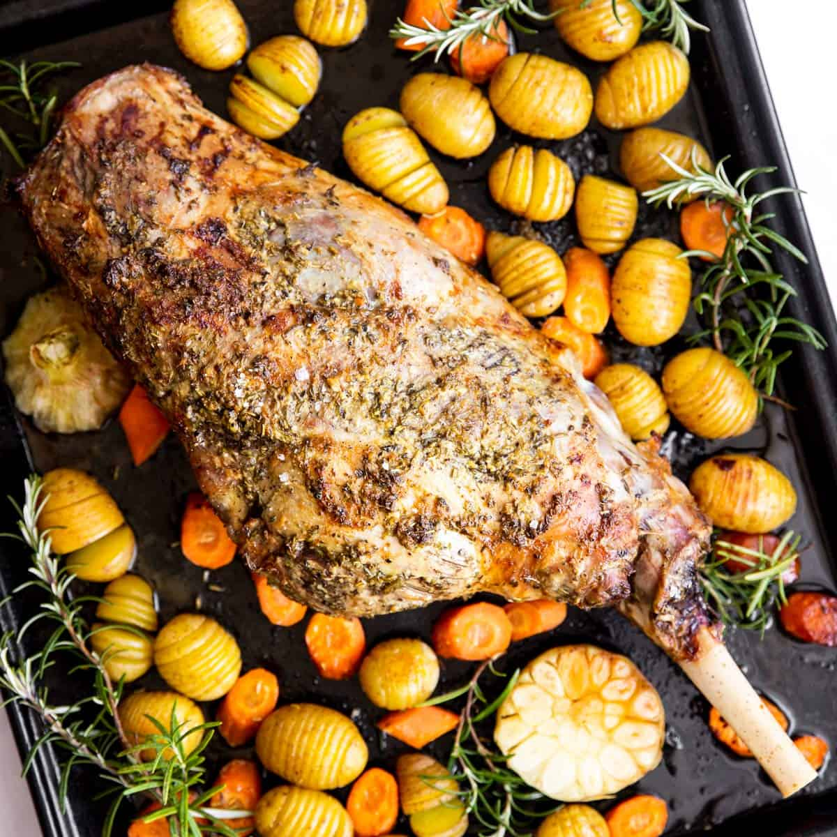 top down view on roast leg of lamb