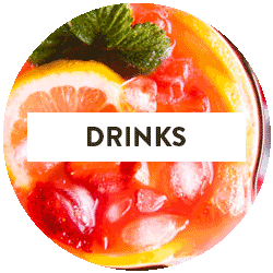 "image of strawberry lemonade with text overlay saying ""drinks"""