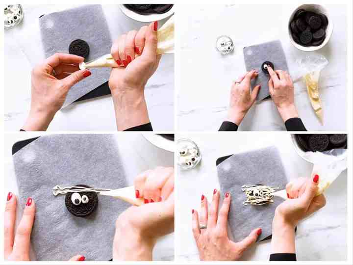step by step collage of making mummy decorated Oreo cookies