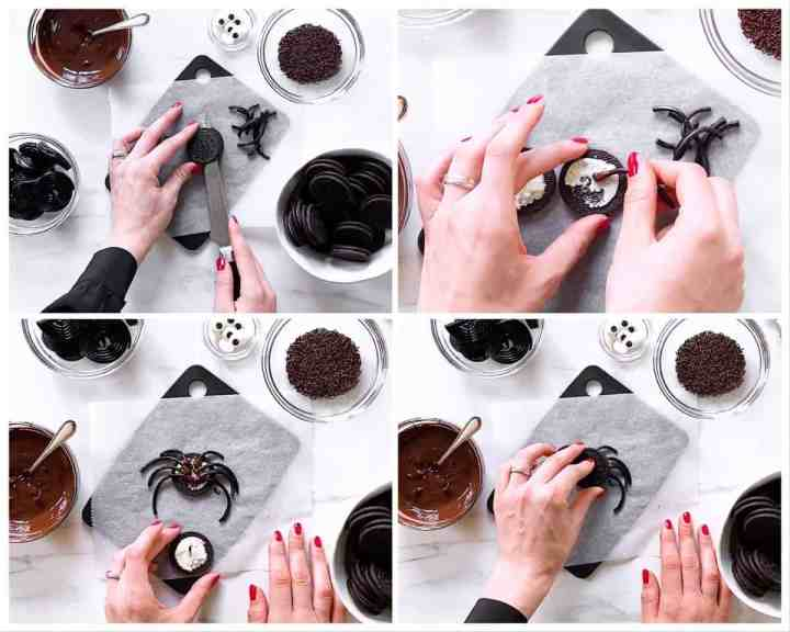 collage of steps to show how to add legs to Oreo cookies to make a spider