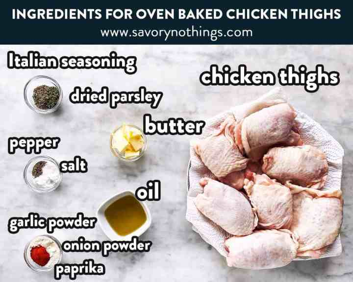 ingredients for oven baked chicken thighs with text labels