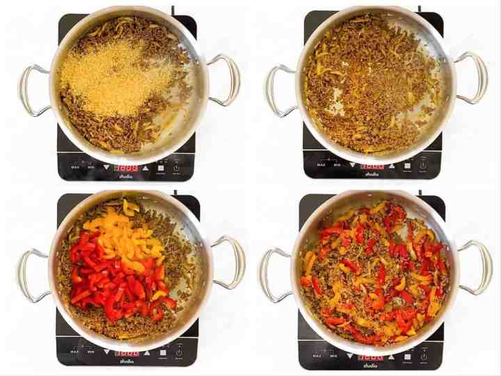 photo collage to show how to stir rice and peppers into ground beef skillet