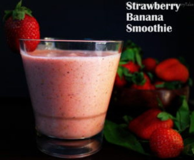 Strawberry Banana Flax Seeds Yogurt Smoothie