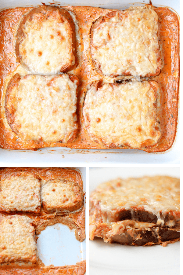 "This Baked Grilled Cheese Sandwich Tomato Soup Recipe is the only baked cheese sandwich casserole you will want to make from now on. It is loaded with tomato sauce, cheese, and it is ""similar to a savory French toast casserole"". No additional dipping required. #bakedgrilledcheese #grilledcheese #tamatosoup #fallsoup #seasonalsoup #grillcheese #tomatosoupwithgrilledcheese"