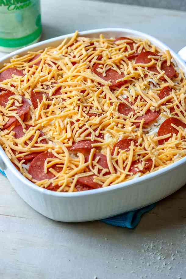 This pizza spaghetti is a perfect combination of kids' favorite meals. There's absolutely nothing better than combining Pizza and Spaghetti into one dish to create an easy no fuss meal! The BEST Spaghetti Pizza Casserole EVA!