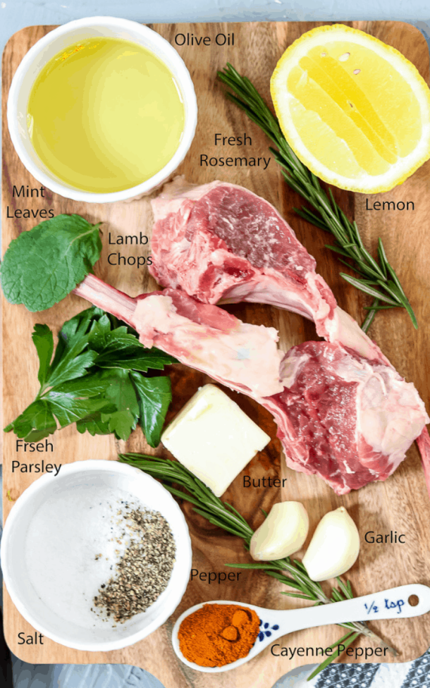 Baked Lamb Chops ingredients. Baked lamb chops permeated with garlic herb flavors! Marinated with mint to bring out the flavor of the lamb, then placed in the refrigerator for a little over 24 hours to ensure is bite is as rewarding as the first. Lamb Chops   Baked Lamb Chops   Pan Seared Lamb Chops   Garlic Herb Lamb Chops   Lamb Chops Recipes   Savory Thoughts #lambchops #bakedlambchops #pansearedlambchops #lambchopsrecipes