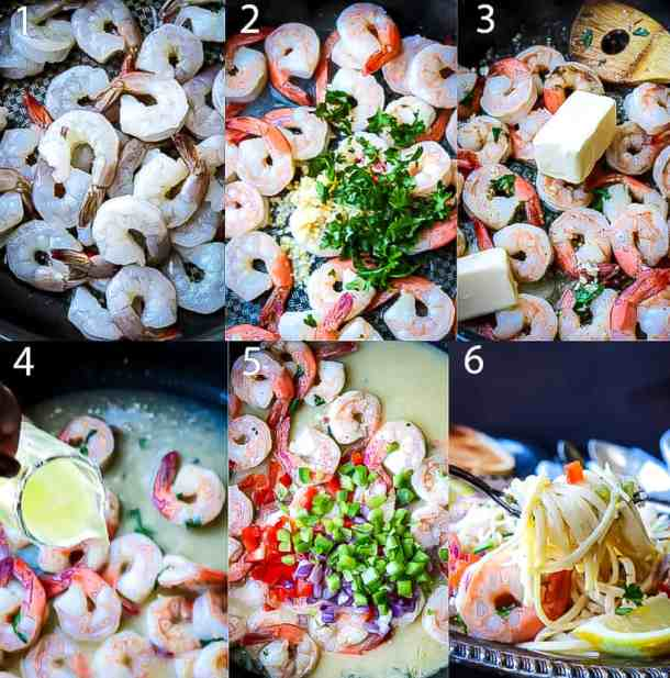 Ingredients in a step by step photo guide for shrimp scampi linguini