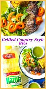 These Marinated Grilled Country Style Ribs are infused with bold flavors, Mazola® Corn Oil, and other warm spices before hitting the grill. The ribs are then cooked on the grill to leave you with a tender juicy interior. No BBQ sauce necessary as these ribs are delicious the way they are! #Countrystyleribs #MarinadesWithMazola #MakeItWithHeart #CollectiveBias #grilledribs #marinatedribs