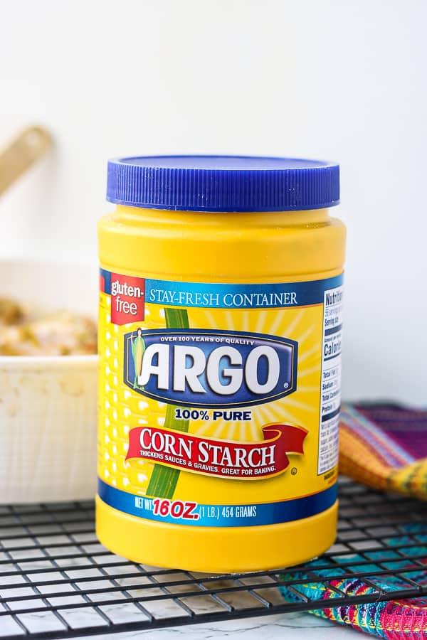 Argo Corn Starch bottle on a wire rack