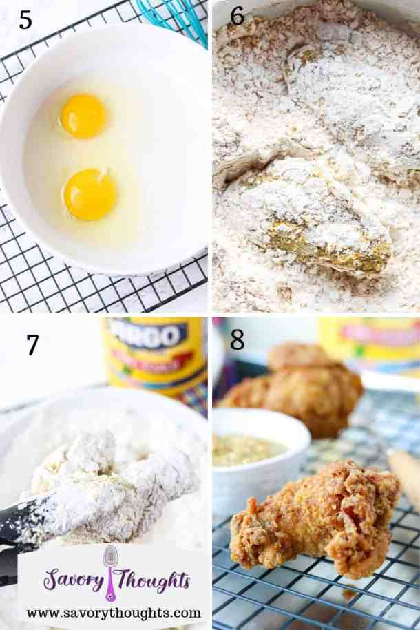 Eggs water mixture, Chicken coated in flour mixture, excess flour shaken off, fried chicken on a wire rack