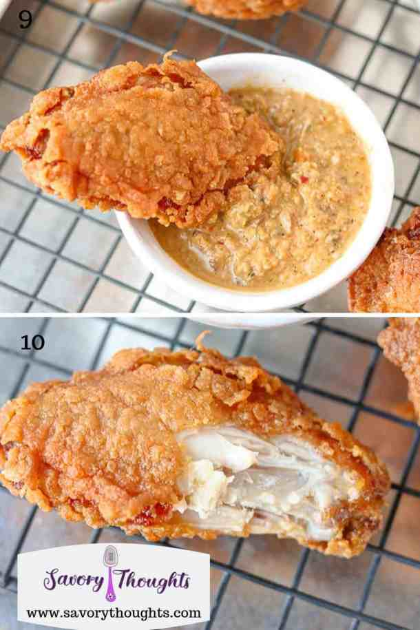 Crispy chicken dipped in Epis in tp picture, chicken bitten off in bottom picture