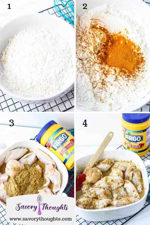 Flour and corn starch mixture, Turmeric added to flour mixture, Epis on chicken, Chicken marinating with Epis next to corn starch bottle