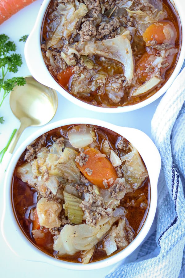 Pressure cooker cabbage in two white bowls