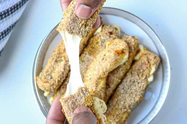 Mozzarella sticks stretched
