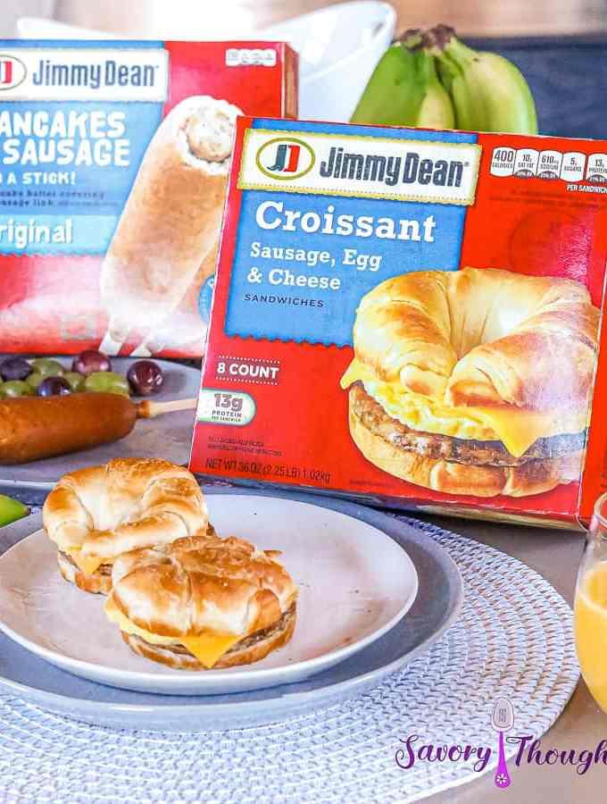 2 Jimmy Dean Croissant sandwiches on a white plate