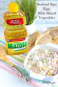 Seafood Sipo Eggs in white bowl with Mazola Corn Oil Pinterest Pin