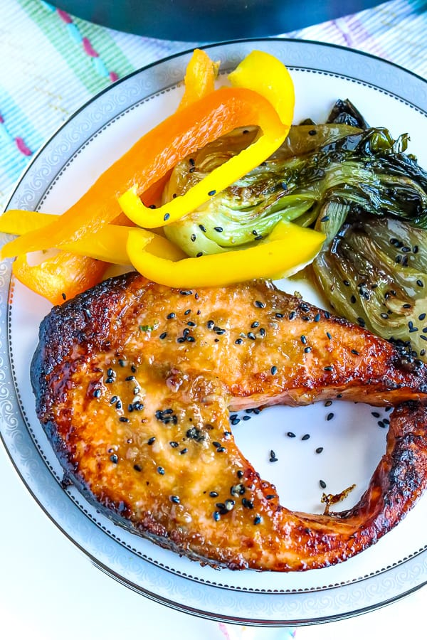 salmon steak with boo chop and bell peppers