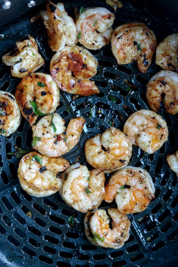 Cooked shrimp in the air basket