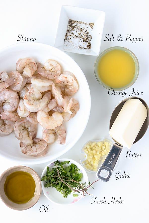 Garlic butter shrimp ingredients