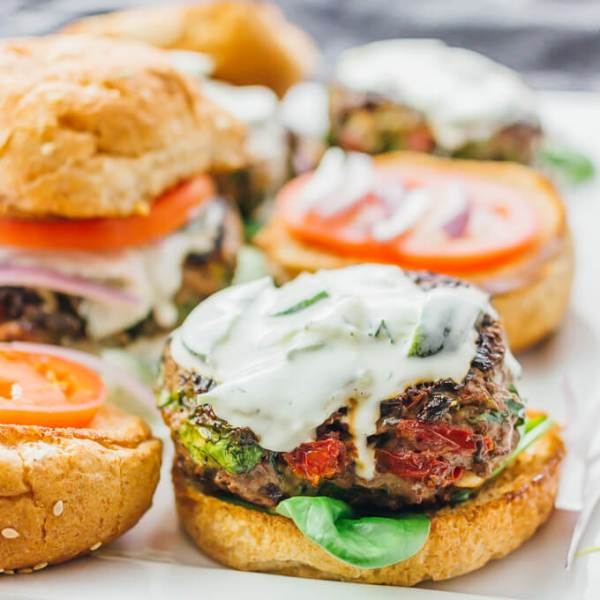 Greek burgers with spinach feta and sundried tomatoes