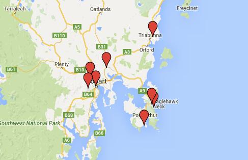 carte roadtrip sud tasmanie