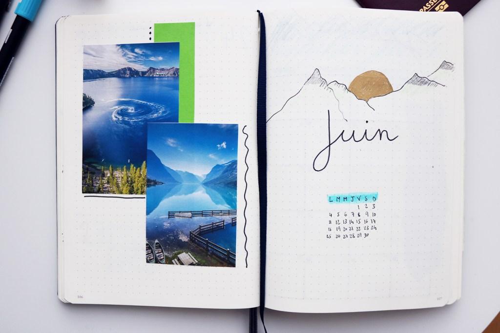 page de garde de juin sur le thème de la montagne dans un bullet journal