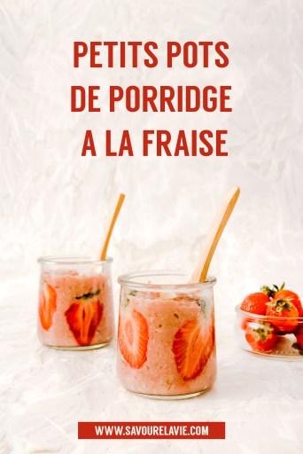 Petits pots de porridge vegan à la fraise