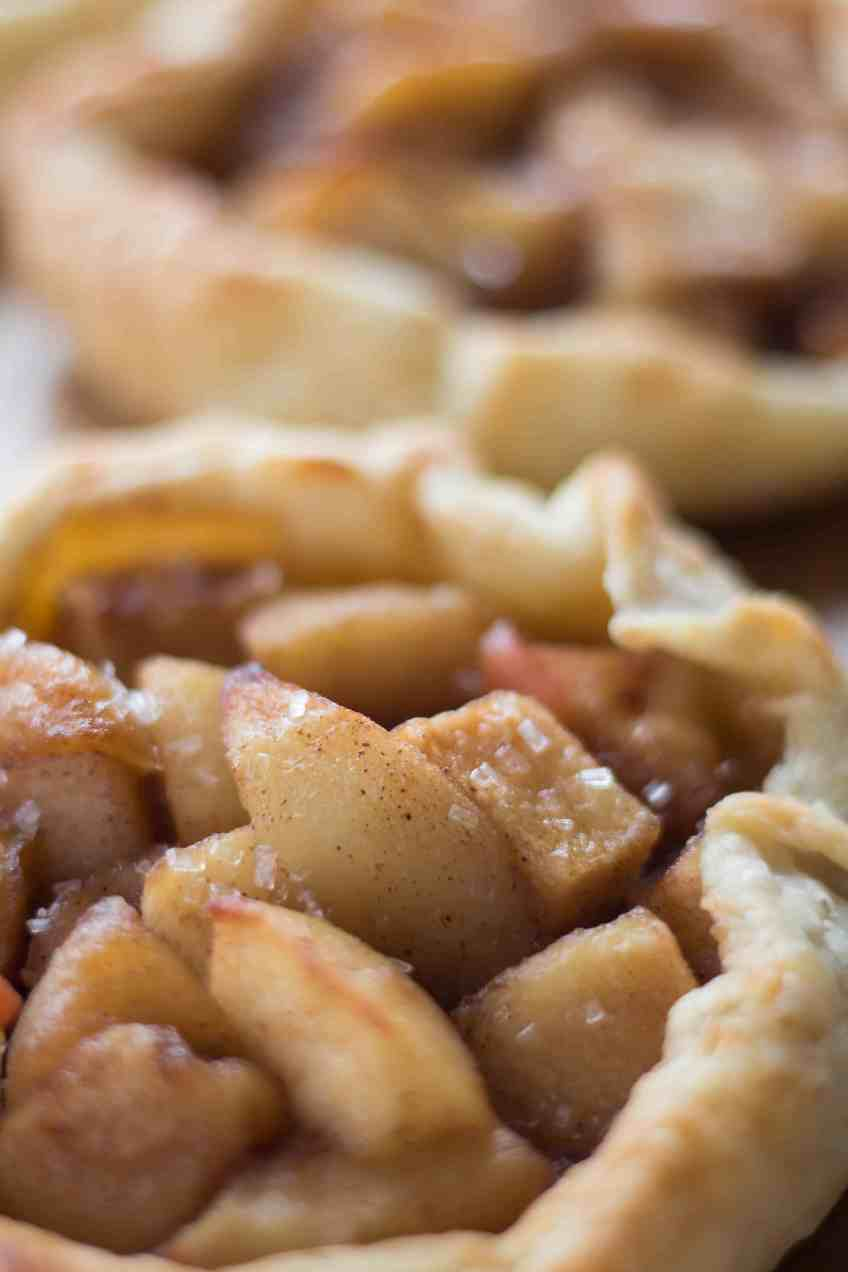 Homemade Individual Apple Pies with chopped apples.