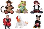 six babies wearing costumes