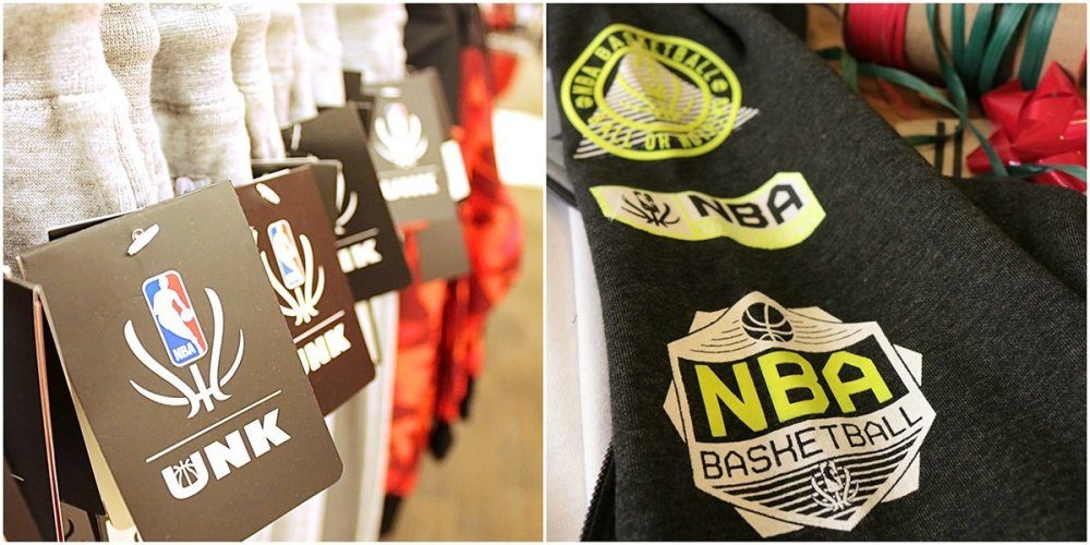 Collage showing close up of pants on a store rack and the reflective badges on the NBA Reflective Collection jacket