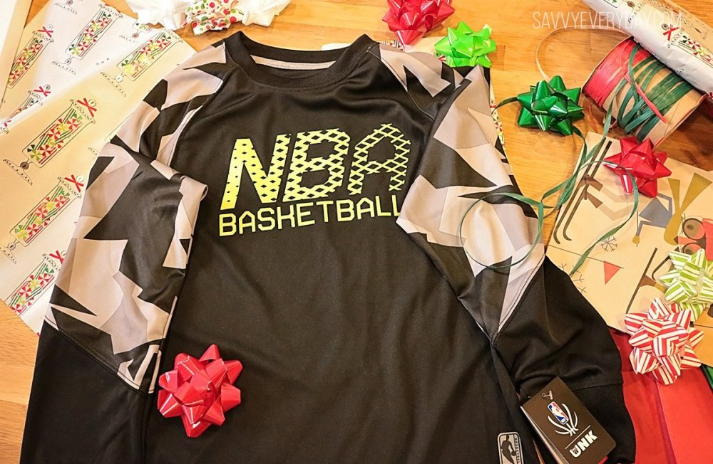Photo of NBA Reflective Collection shirt with bows and gift wrap