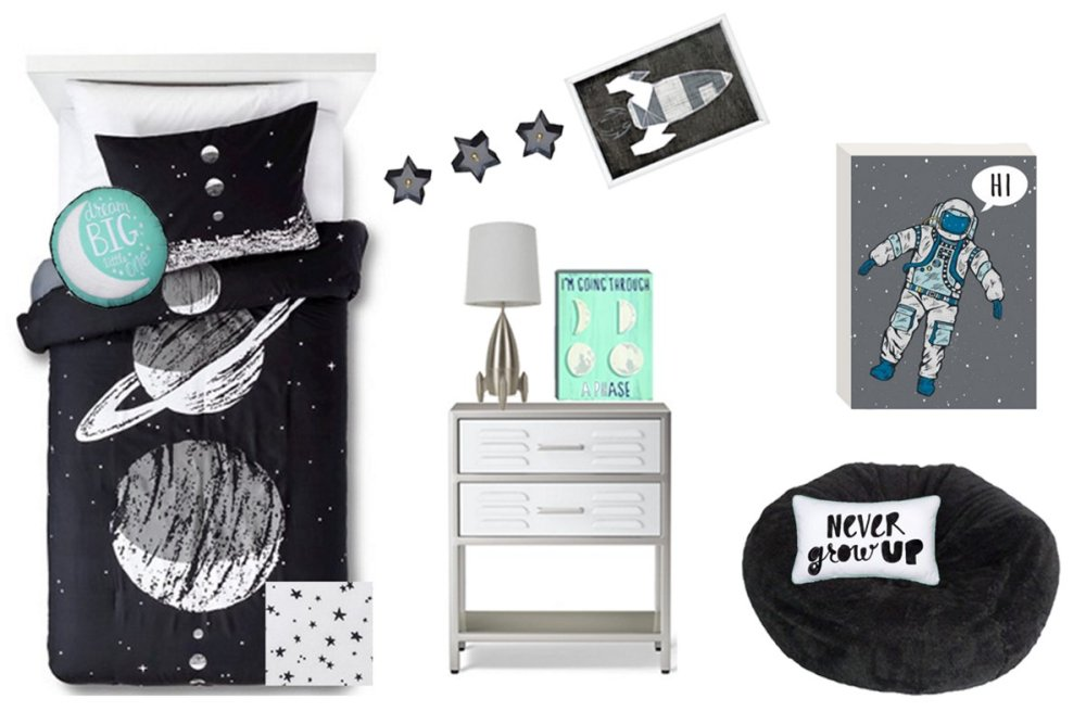 Pillowfort kids outer space room design savvy every for Outer space room design