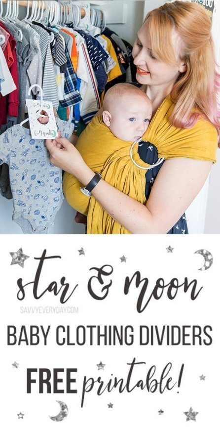 Free Star & Moon Baby Clothing Dividers Printable Pinterest image