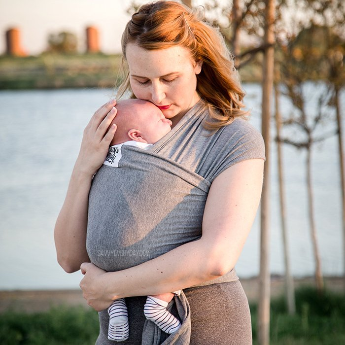 holding river tight in gray baby wrap