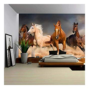 Horse Herd Run in Desert Sand Storm - Removable Wall Mural | Self-Adhesive Large Wallpaper