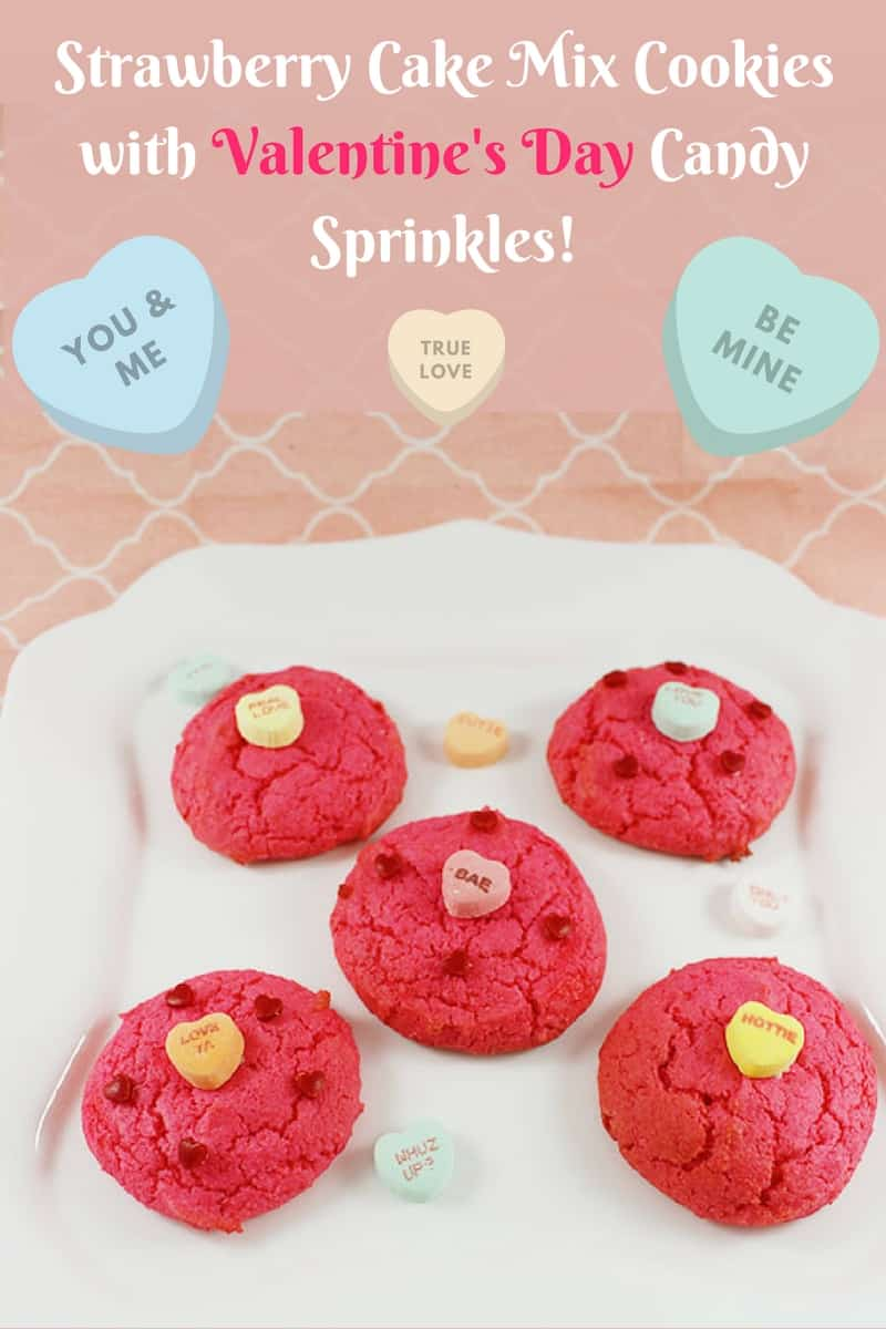 Strawberry Cake Mix Cookies With Valentines Day Candy Sprinkles