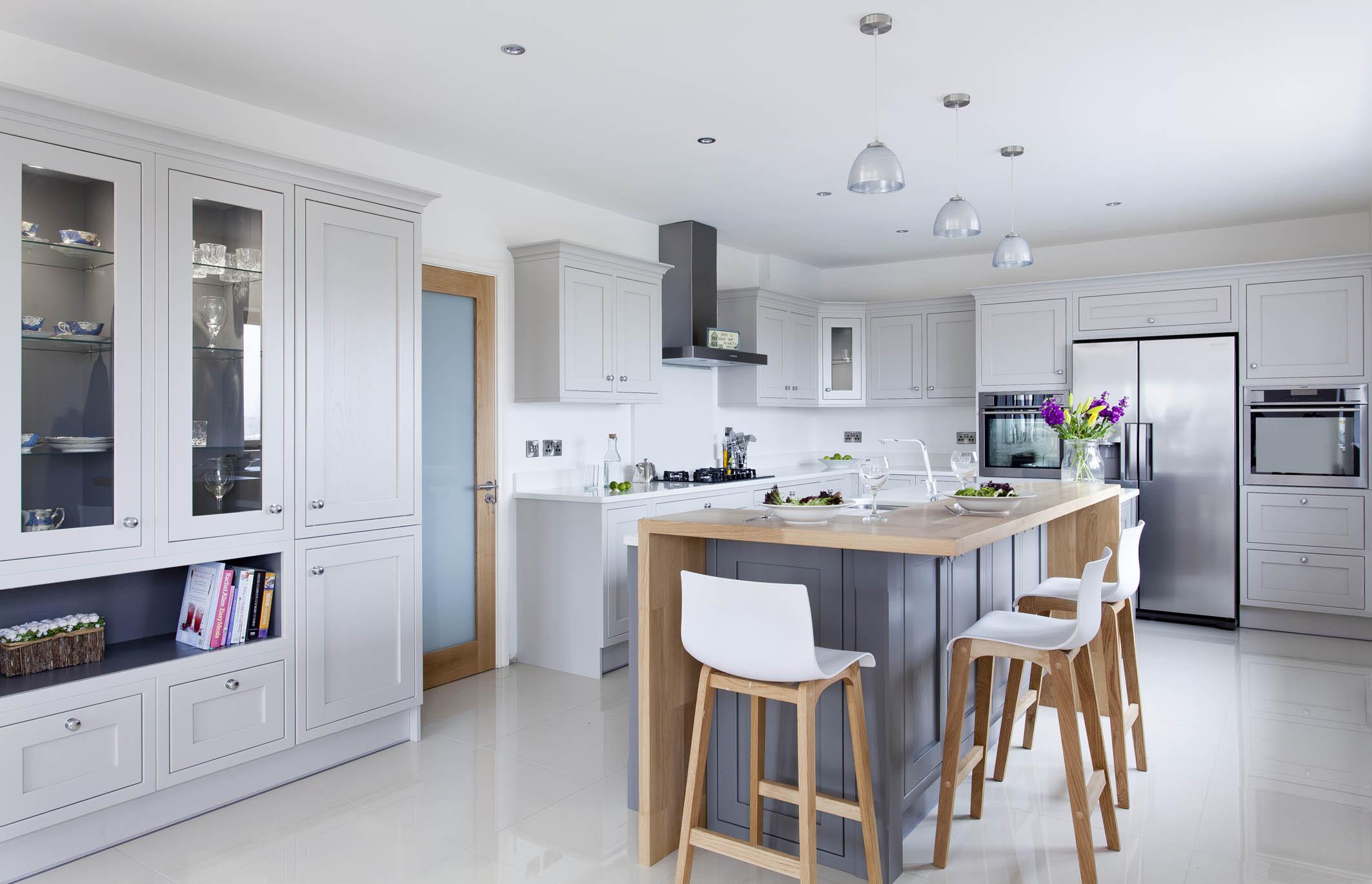 Contemporary classic painted kitchen with oak breakfast bar cornforth  moles breath