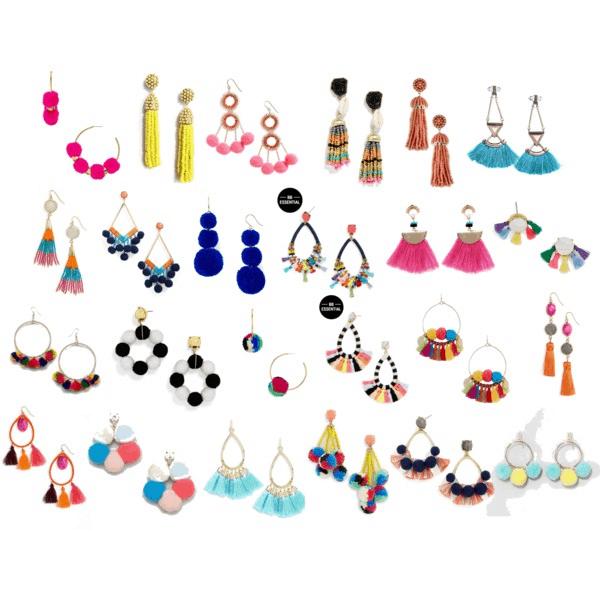 pom pom and tassel earrings