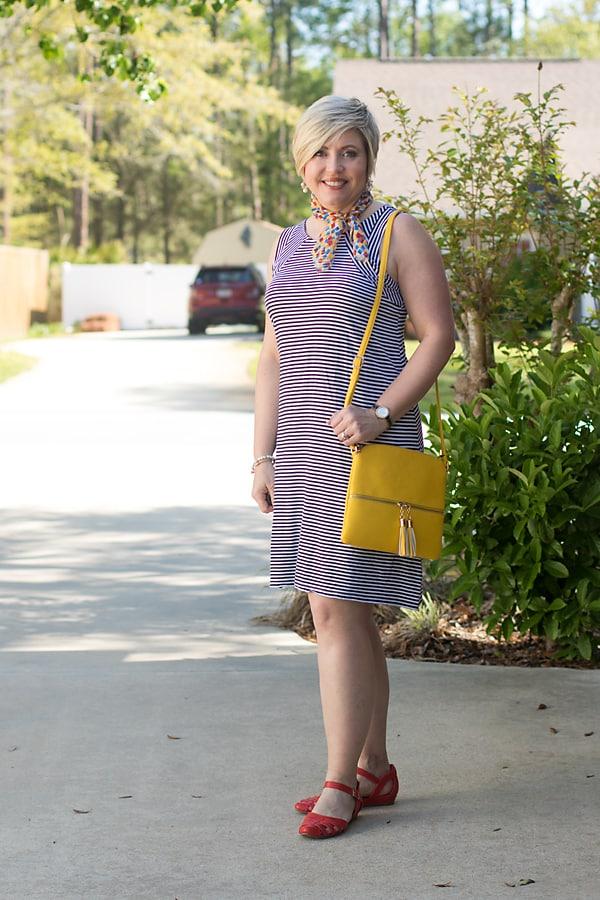 stripe dress neck scarf