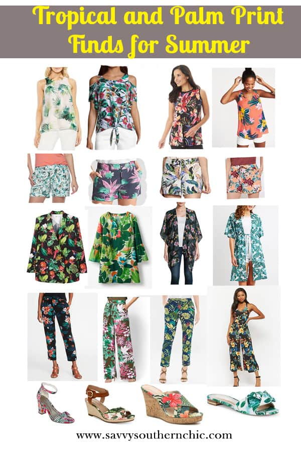 tropical and palm print finds for summer