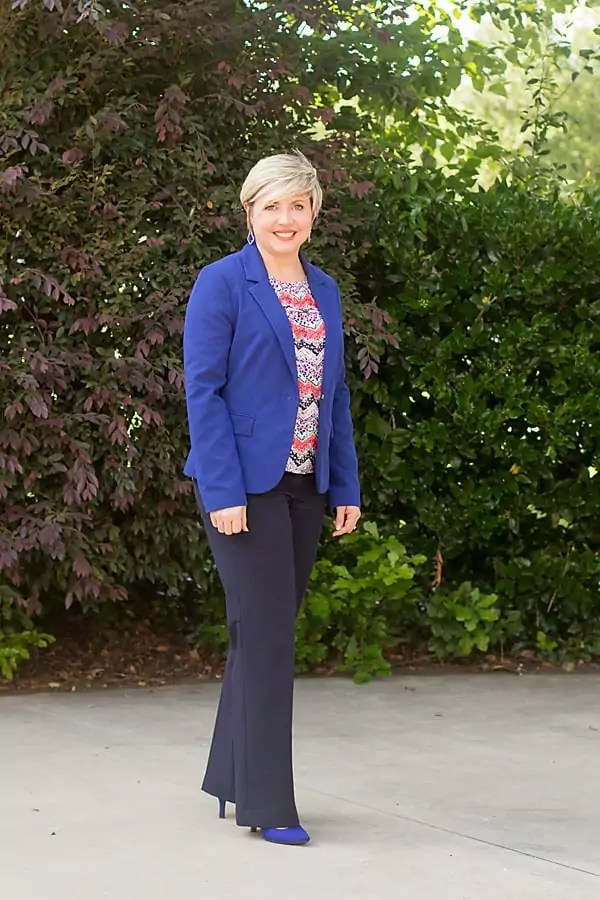 cobalt blazer outfit, cobalt pumps, navy pants work outfit, womens office outfit